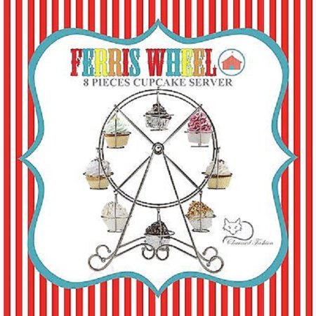 Charmed Silver Ferris Wheel Mini Cupcake Stand Holder; Holds 8 - Decorative Cupcake Holders