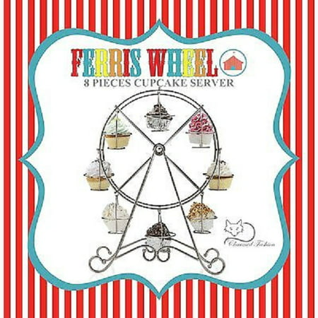 Charmed Silver Ferris Wheel Mini Cupcake Stand Holder; Holds 8