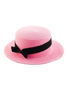 e5dc11d7793 Product Image Woman Ribbon Decor Wide Brim Braided Summer Travel Beach  Straw Cap Sun Hat Pink