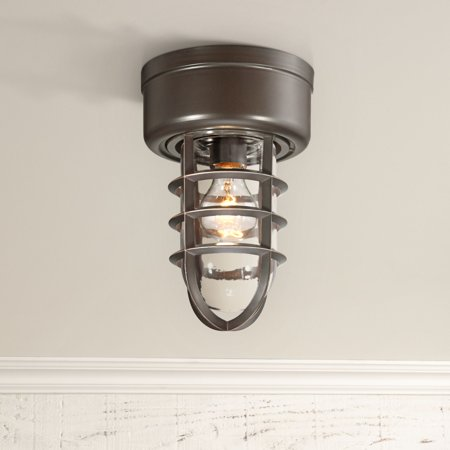 John Timberland Nautical Outdoor Ceiling Light Fixture Bronze Cage 10 3 4 Clear Gl Damp Rated For Porch Patio Entryway