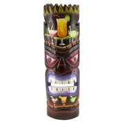 Tiki Mask With Cocktail Drinks Painted Wood Wall Plaque 19 Inches