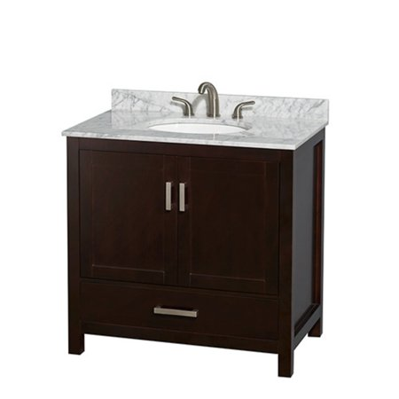 Wyndham Collection Sheffield 36 Inch Single Bathroom Vanity In Espresso Ivory Marble Countertop Undermount