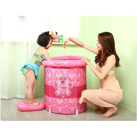 Teen Size Folding Bathtub, Inflatable Bath tub, Portable Bathtub, Plastic Bathtub, Folding Bath Bucket, Bath tub (Pink)
