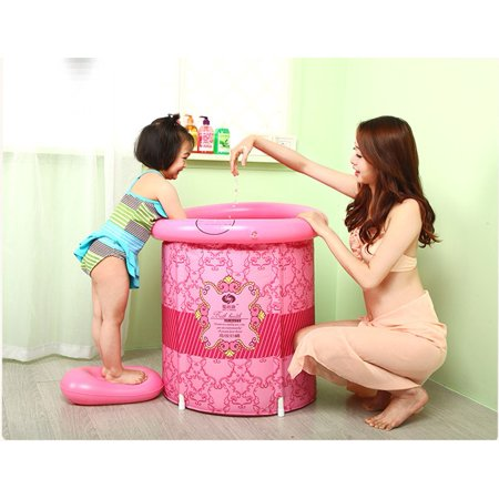 Teen Size Folding Bathtub, Inflatable Bath tub, Portable Bathtub, Plastic Bathtub, Folding Bath Bucket, Bath tub (Pink)](Inflatable Bath Adult)