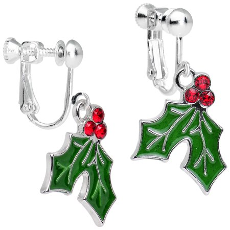 Body Candy Silver Plated Green Holiday Holly Clip On Earrings Created with Swarovski Crystals 1""