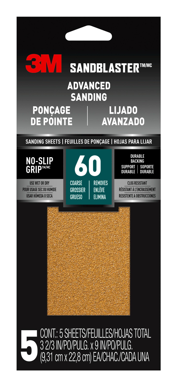 3M SandBlaster Set of 6 Sandpaper 60 Grit Coarse 9 x 11 inch; 2 Packs of 3 Sheet