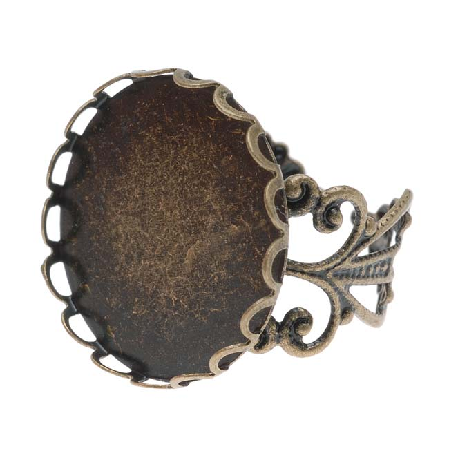 Antiqued Brass Round Bezel Filigree 20mm Adjustable Ring (1)