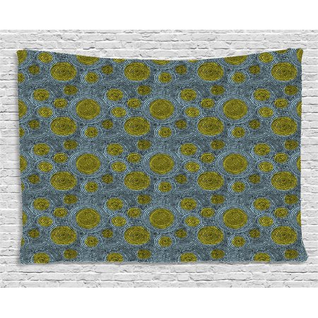 Geometric Tapestry, Repeating Dots in Circular Movement on Yellow Spot Background, Wall Hanging for Bedroom Living Room Dorm Decor, 60W X 40L Inches, Pale Blue Yellow and Black, by Ambesonne](Halloween Repeating Backgrounds)