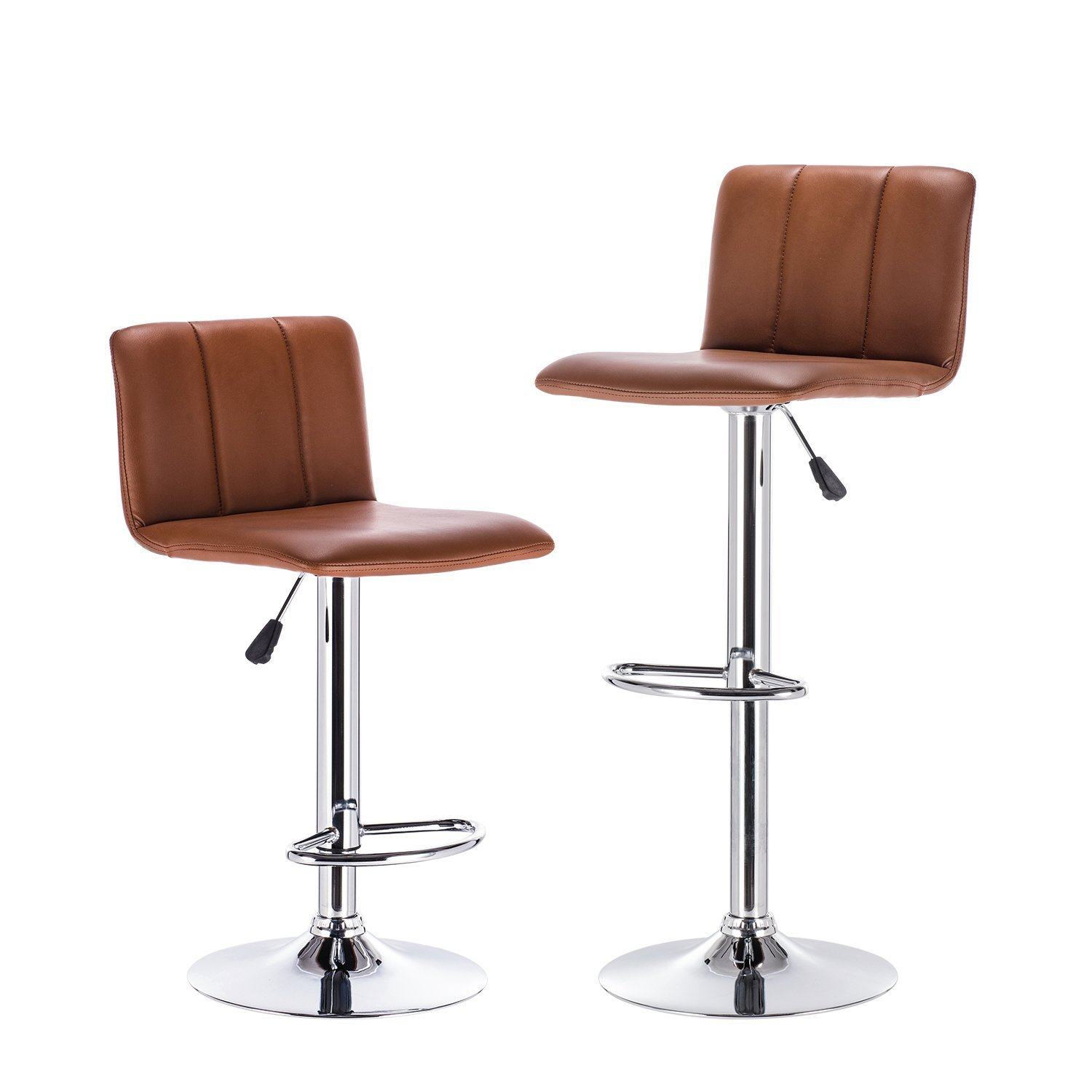 LCH Bar Stools, Leather Adjustable Bar Stools With Metal Base, Counter  Height Swivel Bar Stool Chairs,Set Of 2 (Brown)