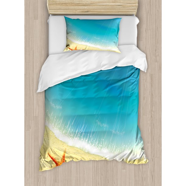 Starfish Duvet Cover Set Seashore View Waves On Sandy Beach Caribbean Paradise Summer Season Illustration Decorative Bedding Set With Pillow Shams Multicolor By Ambesonne Walmart Com Walmart Com
