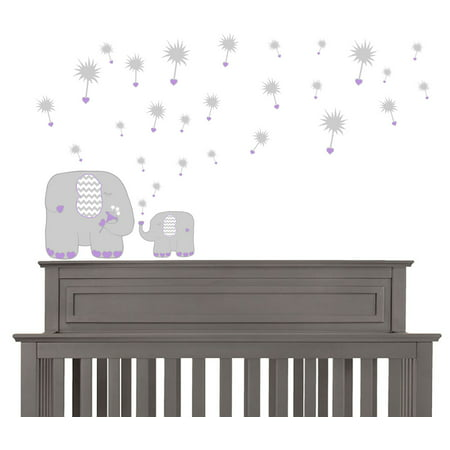 Purple Dandelions and Elephant Wall Decals / Elephant Nursery Wall Decor](Elephant Nursery Decor)
