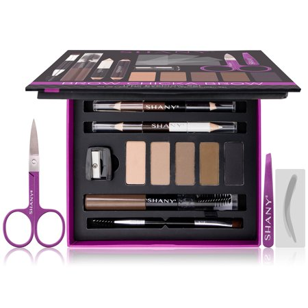 SHANY Brow Chicka Brow Eyebrow Set - 17 Piece Eyebrow Makeup Kit with Brow Powder, Brow Gel, Dual Ended Pencils, Stencils, Scissors, and Tweezers - All Hair