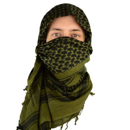 Mato & Hash Military Shemagh Tactical Desert 100% Cotton Keffiyeh Scarf Wrap - Olive Drab CA2100