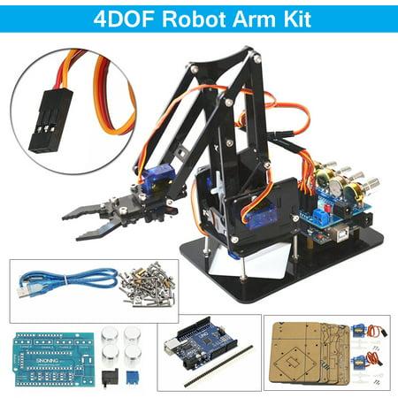 Diy 4dof Robot Arm Mechanical Manipulator 4 Axis Acrylic Rotating With 4pcs Sg90 Servo Board For Arduino Uno R3
