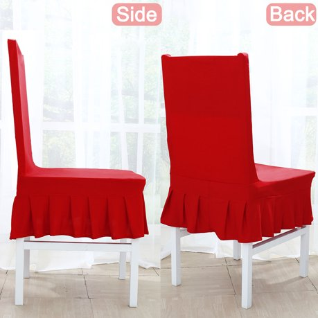 Stretchy Spandex Ruffled Skirt Short Dining Room Chair Covers Washable Removable Seats Protector Slipcovers Red
