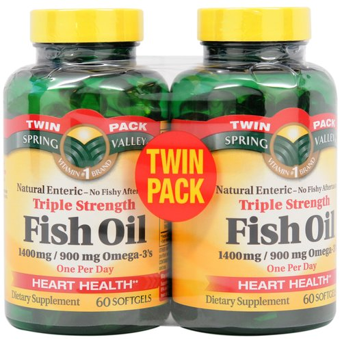Spring Valley Triple Strength Fish Oil Dietary Supplement, 1400mg, 120 Count (2x60ct) - Walmart.com