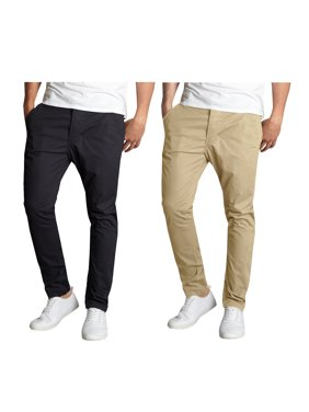 Mens Slim Fit Cotton Stretch Chino Pants 2 Packs