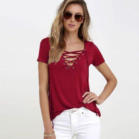 d37f6885fd ZANZEA - ZANZEA Women Lace-Up Short Sleeve T-shirt Fashion Casual ...