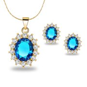 18K Yellow Gold Created Aquamarine Round 1 Carat Oval Necklace Plated 18 inch