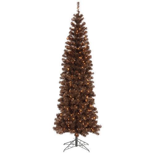Vickerman 6.5' Mocha Artificial Pencil Christmas Tree with 300 Clear Mini Lights