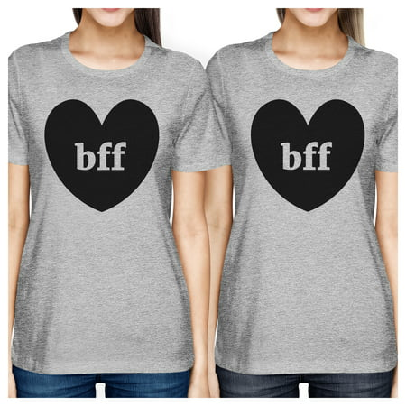 Bff Hearts Cute Womens Matching Tees Grey Best Friends Gift Ideas - Halloween Best Friend Ideas