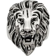 Stainless Steel Polished and Antiqued Lion Ring, Available in Multiple Sizes