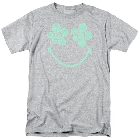 Smiley Men's  Flower Face T-shirt Grey - Halloween Smiley Faces For Texting