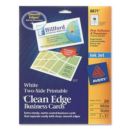 Avery Dennison 8871 200 Cards Cleanedge White 2x35 For Inkjets