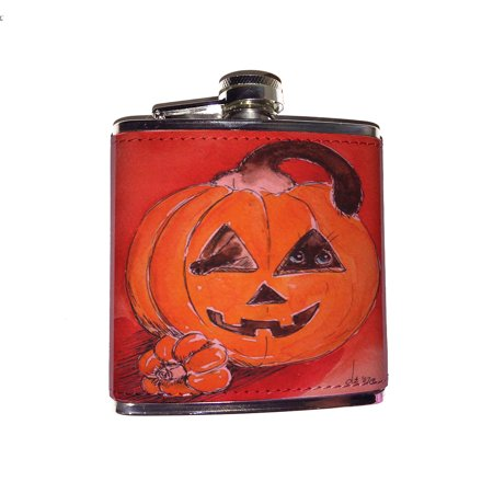 Flask Mob Halloween (KuzmarK Pink Leather Flask - Silly Siamese Stuck in a Pumpkin Halloween Cat Art by Denise)