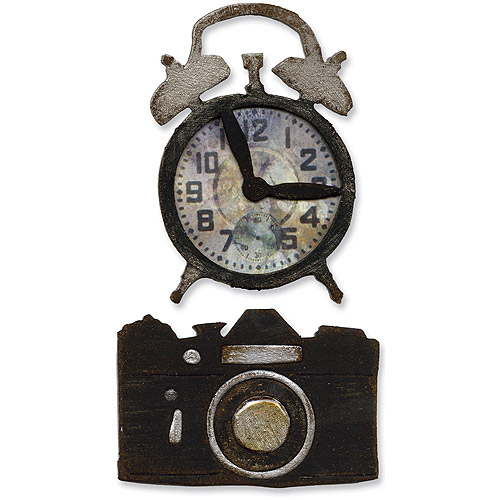 Sizzix Movers & Shapers Repositionable Magnetic Die, Tim Holtz Alterations, Vintage Alarm Clock & Camera