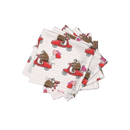 Cocktail Napkins Valentines Day Valentines Day Valentines Day Sloth Set of 4 - Valentine Cocktail