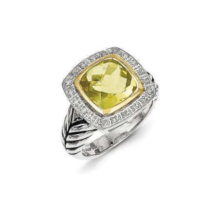 925 Sterling Silver 14kt Lemon Quartz Diamond Band Ring Size 7.00 Stone Gemstone Fine Jewelry Ideal Gifts For Women Gift Set From Heart