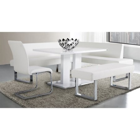 Hawthorne Collections Faux Leather Living Room Bench in White - image 1 of 3