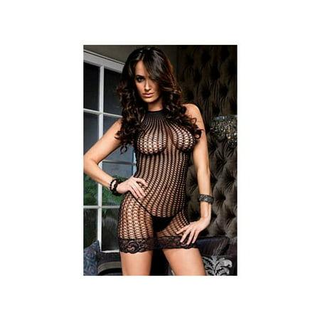 Leg Avenue Black Lace Trimmed Crochet Net Halter Mini Dress 86394LEG Black
