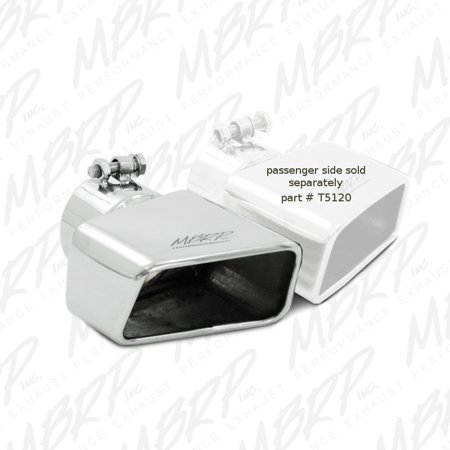 MBRP Universal Tip 4.50in x 2.75in ID Rectangle Angled Cut 3in OD Inlet 7.75in Lgth T304 Driver Side