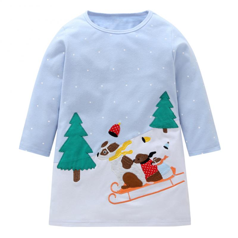 Baby Little Girls Long Sleeve Christmas Sled Dog Print Basic A-line Cotton Dress 2-3T