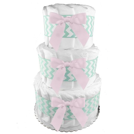 Plain 3-Tier Diaper Cake - 62 Diapers - Girl Baby Shower Gift - Centerpiece - Mint and Pink](Diaper Cakes Centerpieces)