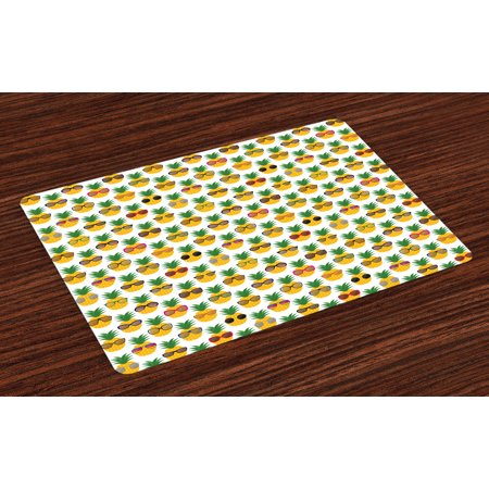 Tropical Placemats Set of 4 Pineapples Wearing Sunglasses Funny Arrangement with Exotic Fruits Illustration, Washable Fabric Place Mats for Dining Room Kitchen Table Decor,Multicolor, by Ambesonne (Sunglasses Funny)