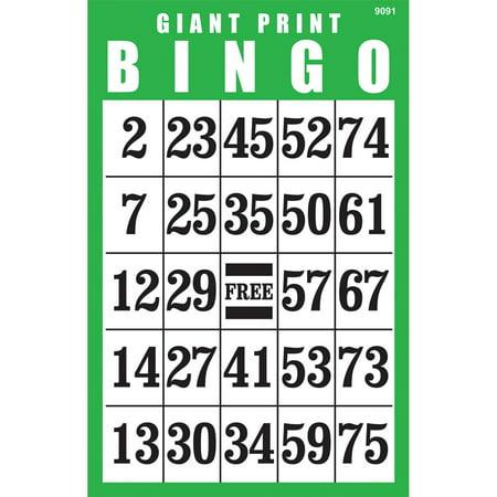 Giant Print BINGO Card- Green](Halloween Bingo Black And White)