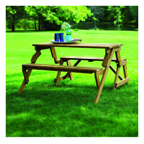 Loon Peak Luxton Convertible Wood Picnic Table & Garden B...