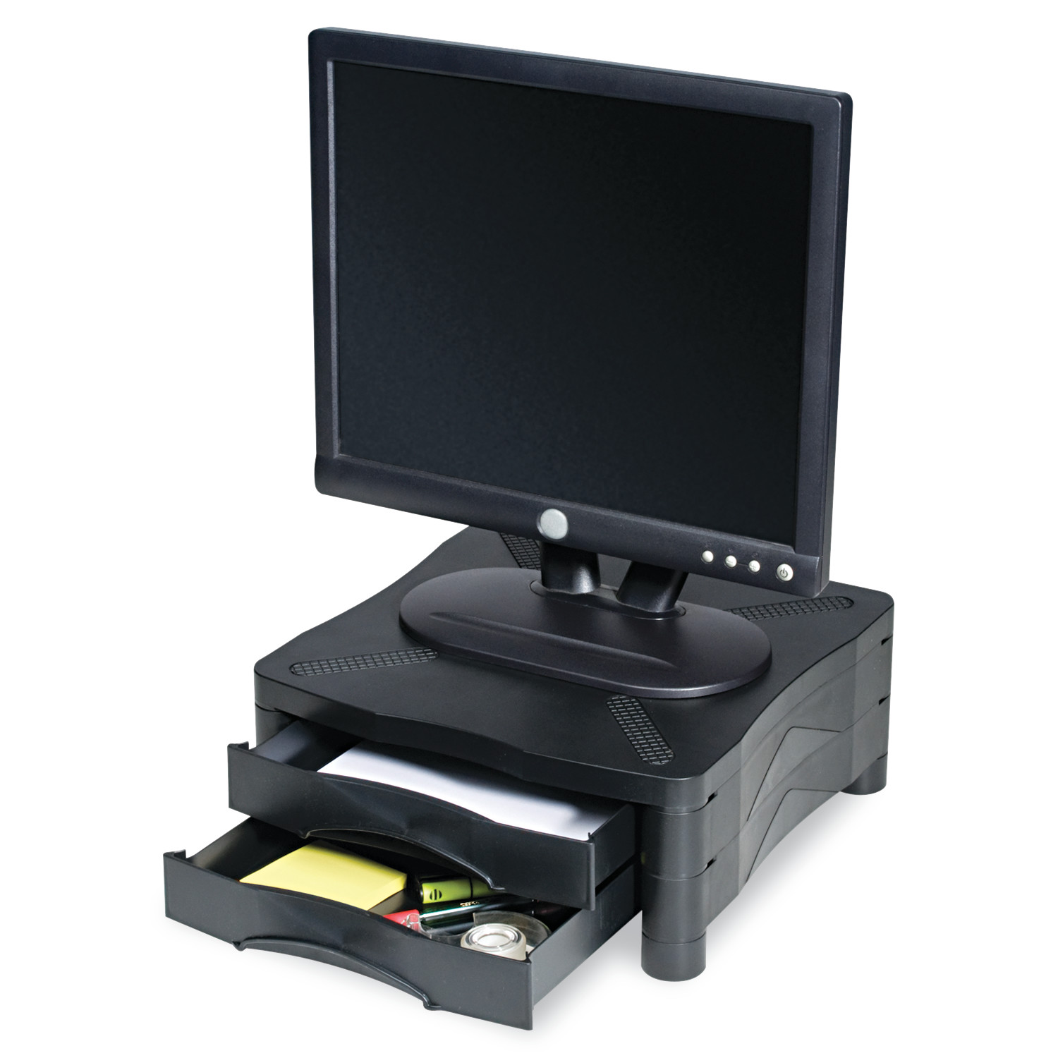 Kelly Computer Supply Adjustable Monitor Stand w/Double Storage Drawer, 13 x 13-1/2 x 4-3/4 to 5-3/4 -KCS10369