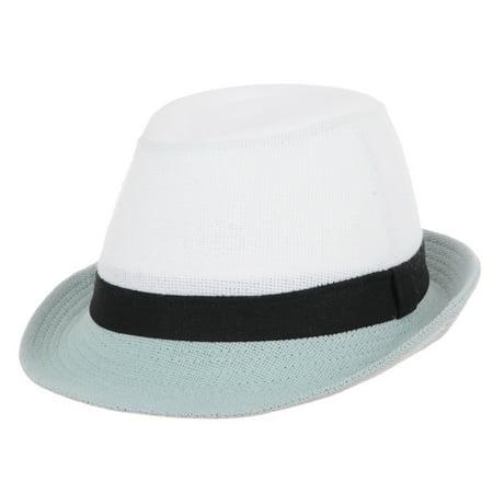85b9f91795a WITHMOONS Linen Fedora Hat Summer Pastel Color Brim Havana Hat LD6372 (Sky)  - Walmart.com