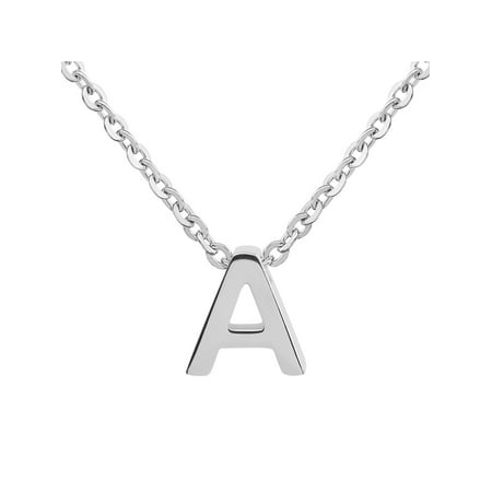 ELYA Polished Initial Pendant Stainless Steel Necklace (18