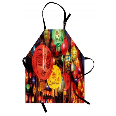 Lantern Apron International Chinese New Year Celebration China Hong Kong Korea Indigenous Culture, Unisex Kitchen Bib Apron with Adjustable Neck for Cooking Baking Gardening, Multicolor, by