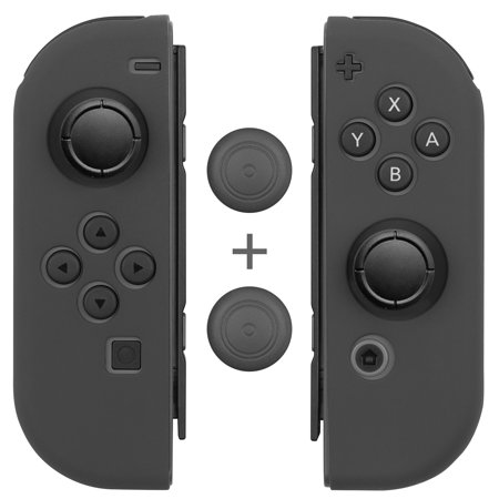 Joy Con Grips  1 Pair   4Pcs   Fosmon Anti Slip Silicone Joy Con Gel Guards Skin Cover L R With Thumb Stick Caps For Nintendo Switch Joy Con Controller  Gray