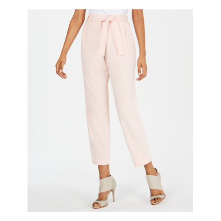 CALVIN KLEIN Womens Pink Belted Wear To Work Pants Size 14P