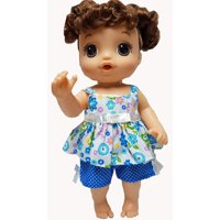 Doll Clothes Superstore Blue Flower Short Set Fits Baby Alive Go Go Sweet Tears Potty Dance And Little Baby Dolls