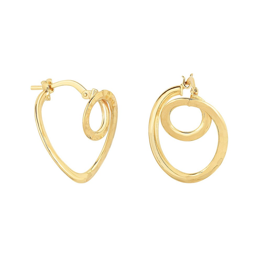 14k Yellow Gold Shiny Diam-cut 20x16x1mm Small Circle In Oval Tube Hoop Type Earrings Hinge Clasp