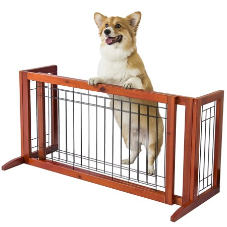 Best Choice Products Adjustable Freestanding Pet Dog Fence Gate, Brown, for Small Animals,