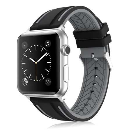 Mignova Soft Silicone Replacement Wristband Sport Watch Band Strap For Apple Watch With Classic Stainless Steel Buckle For Apple Watch Iwatch Series 2   1  Black   Gray   38Mm